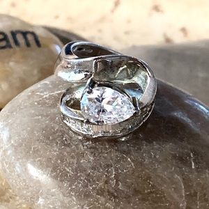 Sterling Silver Pear Stone With Baguette